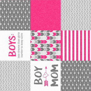 Pink Boy Mom - Wholecloth Cheater Quilt - Rotated