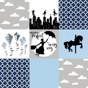 Practically Perfect - Navy/Blue - Wholecloth Cheater Quilt