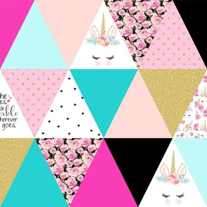 Unicorn Triangle Patch - Wholecloth Cheater Quilt