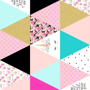 Unicorn Triangle Patch - Wholecloth Cheater Quilt - Rotated