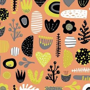 Scandinavian cute abstract retro shapes, flowers, hearts