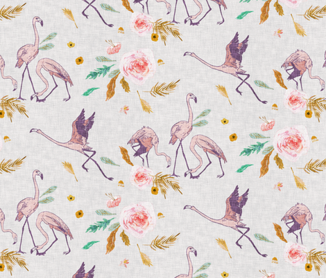 Paradisio  Flamingo (silver) MED fabric by nouveau_bohemian on Spoonflower - custom fabric