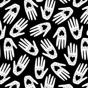 Hand In Heart Toss | b&w
