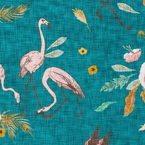 Jungle Vibes  Flamingo (teal) MED