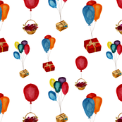 Watercolor air balloons with gifts