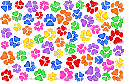 Rainbow Paw Print Scattered on White Large