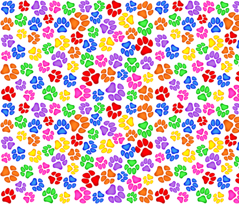 Rainbow Paw Print Scattered on White Large fabric by olly's_corner on Spoonflower - custom fabric