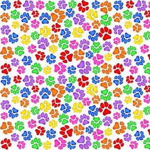 Rainbow Paw Print Scattered on White Small
