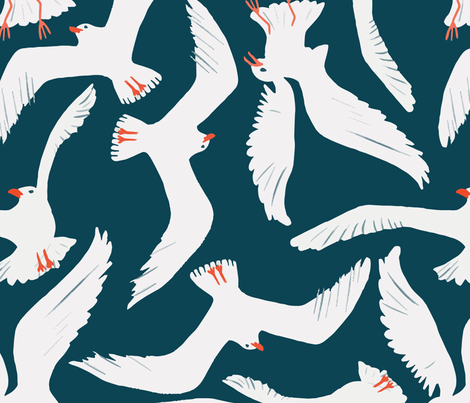 Sea Gulls fabric by melarmstrongdesign on Spoonflower - custom fabric