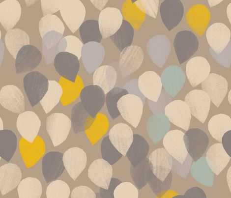 Leaves in the wind, falling raindrops in the sun fabric by juliaschumacher on Spoonflower - custom fabric