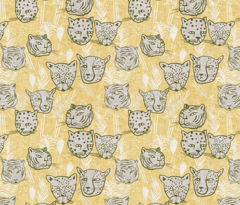 Paradisio  Big Cats (gold) MED fabric by nouveau_bohemian on Spoonflower - custom fabric