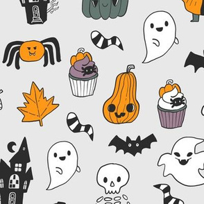 Funny cute spooky Happy Halloween kids pattern with witch, Dracula, pumpkins, ghosts etc.