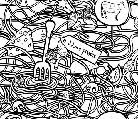 I Love Pasta fabric by edrouga on Spoonflower - custom fabric