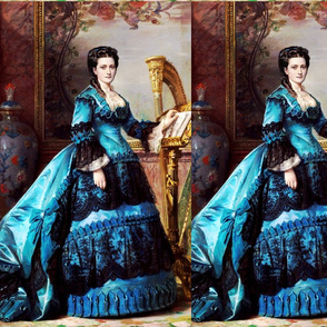 blue black gowns bustle baroque victorian harp flowers floral musical notes musician beauty lace ballgowns rococo portraits beautiful lady gold gilt vase paintings  bows woman elegant gothic lolita egl neoclassical  historical romantic 19th century