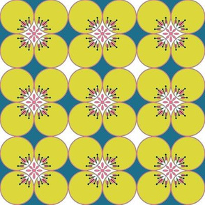 1960s Flower power circles in Mustard yellow