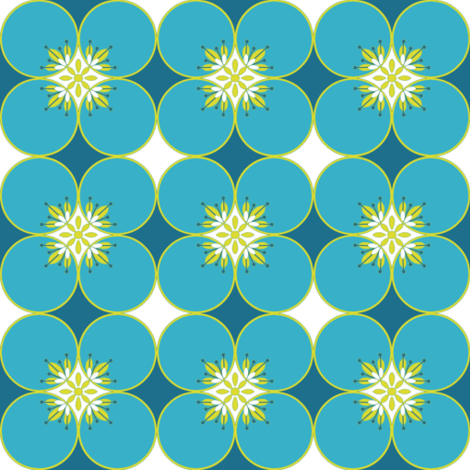 1960s Flower power circles in blue fabric by magentarosedesigns on Spoonflower - custom fabric