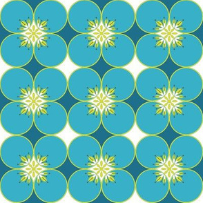 1960s Flower power circles in blue