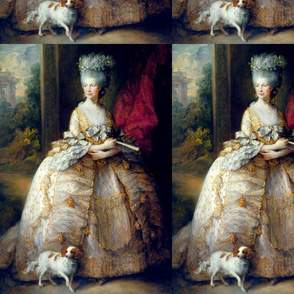 Marie Antoinette inspired princesses queens white yellow gold big gowns lace baroque victorian beautiful lady woman beauty pouf Bouffant dogs pets trees garden sky clouds castle palace bows fans portraits ballgowns flowers floral rococo  elegant gothic lo