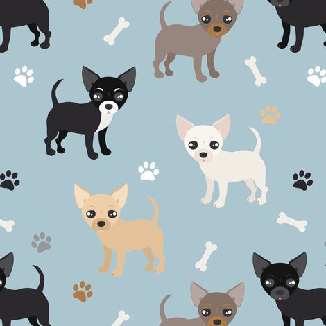 Chihuahua Dogs Blue fabric by jannasalak on Spoonflower - custom fabric