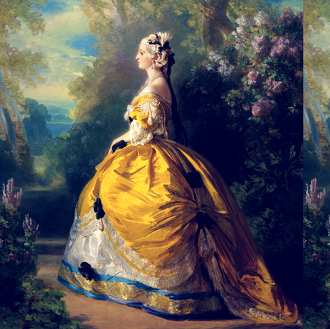 Marie Antoinette inspired princesses queens white yellow big gowns lace baroque victorian beautiful lady woman beauty garden flowers floral trees sky clouds bows portraits ballgowns rococo  elegant gothic lolita egl 18th century neoclassical  historical g fabric by raveneve on Spoonflower - custom fabric
