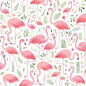 Watercolour Flamingos