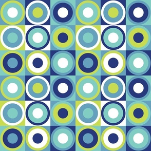 Retro circles in modern colors, teal, blue, neon green Fabric