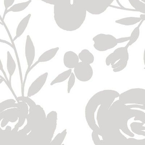 """Large Scale """"Heavenly"""" Gray Floral on White"""