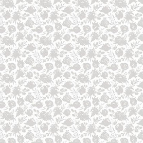 """Small Scale """"Heavenly"""" Light Gray Floral on White"""
