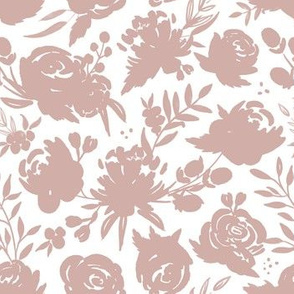 """7 inch """"Heavenly"""" Mauve Floral on White"""