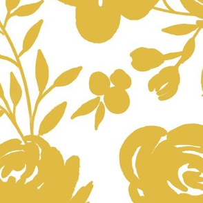 """Large Scale """"Heavenly"""" Mustard Floral on White (Gold Flowers)"""