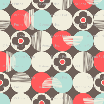 Retro Style Circles and Flowers on Beige Background
