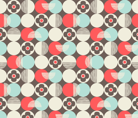 Retro Style Circles and Flowers on Beige Background fabric by apstudio on Spoonflower - custom fabric