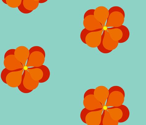 Nasturtium-aqua fabric by kae50 on Spoonflower - custom fabric