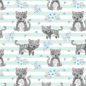 Grey Tabby Kitten Floral - Mint Stripes