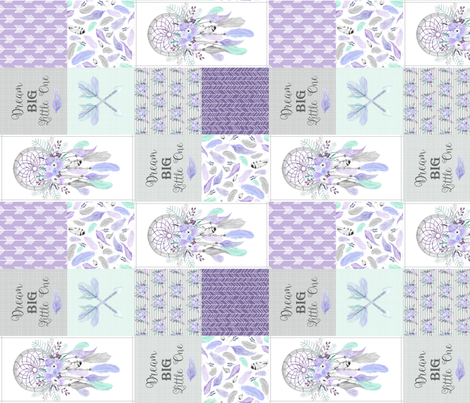 Dream Big Dream Catchers Patchwork Quilt Top – Wholecloth for Girls Purple Lavender Grey Feathers Nursery Blanket Baby Bedding - ROTATED fabric by gingerlous on Spoonflower - custom fabric