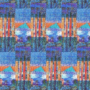 """Woven Orange & Blue Abstract Landscape"""