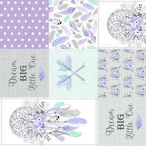 Dream Catcher Patchwork Quilt Top – Wholecloth for Girls Purple Lavender Grey Mint Feathers Nursery Blanket Baby Bedding - ROTATED