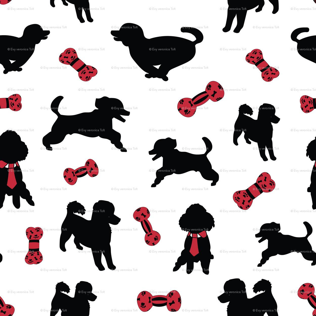 Happy Poodle, White giftwrap - evy_v_design - Spoonflower