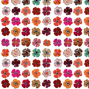 Appliqué Poppies in rows