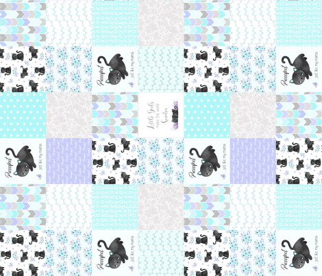 Purrrfect Kitten Patchwork Quilt (rotated) - Aqua, Lavender & Grey - Purrrfect... just like my mama fabric by gingerlous on Spoonflower - custom fabric