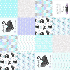 Purrrfect Kitten Patchwork Quilt (rotated) - Aqua, Lavender & Grey - Purrrfect... just like my mama