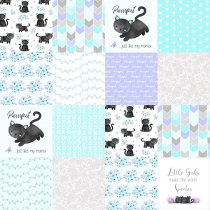 Purrrfect Kitten Patchwork Quilt - Aqua, Lavender & Grey - Purrrfect... just like my mama