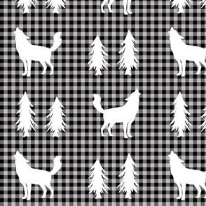Wolves  – Woodland Trees, Black / Grey Plaid