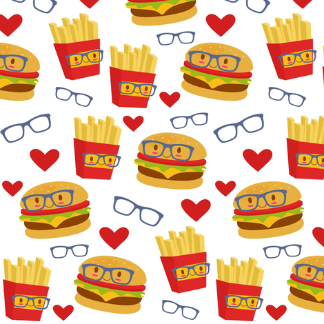 Tossed Smart Burgers and Fries  fabric by sunshineandspoons on Spoonflower - custom fabric