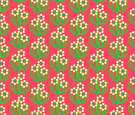 Bright as a daisy - watermelon pink medium fabric by dustydiscoball on Spoonflower - custom fabric