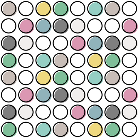 Polka Pop Pastel Outline fabric by mrshervi on Spoonflower - custom fabric