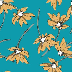 Flower Shower on Turquoise