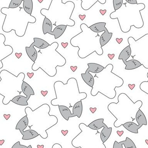 white and grey kitty cats with pink hearts