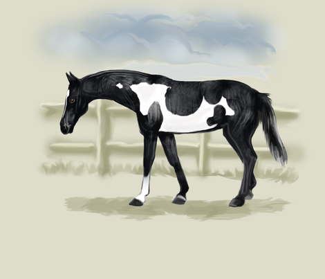 Piebald Pinto Horse for Pillow fabric by eclectic_house on Spoonflower - custom fabric