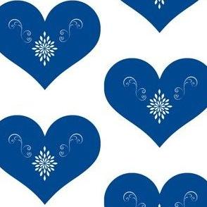 Blue Scandinavian Hearts